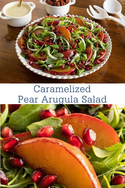 This Caramelized Pear Arugula Salad is a show-stopper! It has fresh greens, pan-roasted pears, ruby red pomegranates, thin slivers of sweet white onion, roasted pecans, and a delicious honey cider dressing. #healthysalad #arugulasalad #pears