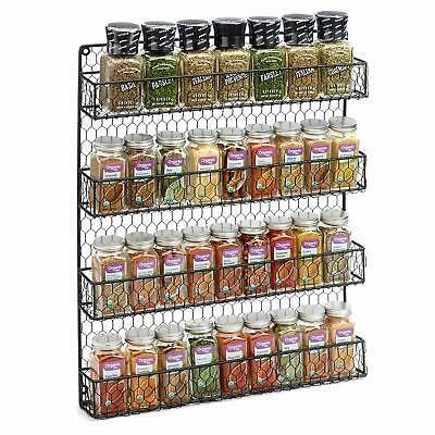Wall Mount 4 Tier Spice Jar Rack Organizer Pantry Kitchen Cabinet Storage Holder Ebay Wall Mounted Spice Rack Hanging Spice Rack Spice Rack Organiser