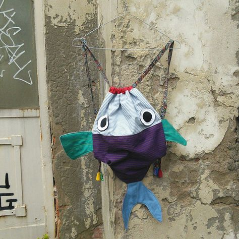 Zusammen mit meinen Fisch Freund - Drawstring-Rucksack für Kinder-Kindergarten - CUSTOM Eintrag für Ivonne