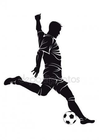 Jugador Del Balompié Fútbol Con Bola Dibujos De Futbol Dibujos De Balones Silueta Futbolista