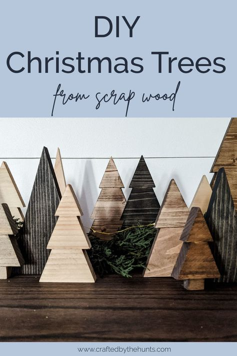 Through the course of constant DIY projects, we've accumulated quite the pile of scrap wood. This month, we're making an effort to create new projects out of the scrap wood rather than buying anything new.After we created a cute Christmas Countdown that was shaped like a Christmas tree, I was inspired to make our first scrap wood project--a Christmas tree forest! We made about 50 trees in less than 2 hours. They are super simple, but look so good!Alright, let's start DIYing!1. Select a… Farmhouse Christmas Decor, Rustic Christmas, Christmas Christmas, Modern Christmas Decor, Christmas Fireplace, Primitive Christmas, Father Christmas, Vintage Christmas, Christmas Tree Forest