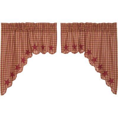 Primitive Window Burgundy Star Scalloped Swag Pair Primitive Kitchen Swag Curtains