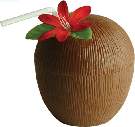 Hawaiian Coconut Cup with Flower and a Straw Set