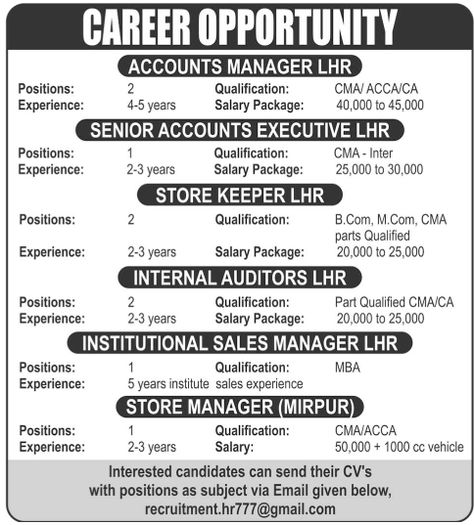 Accounts Manager Jobs in Pakistan Accounts Manager Qualification - mechatronics engineer sample resume