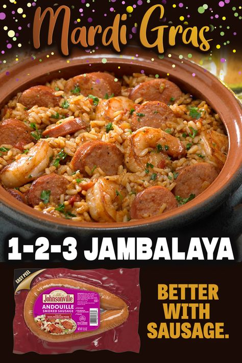 Simple and easy Jambalaya that is perfect for any level of cooking experience! Sausage, shrimp, chicken, spices - need we say more for the ultimate recipe! Get ready to add this Cajun and Creole inspired dish to your recipe rotation. Louisiana Recipes, Cajun Recipes, Pork Recipes, Seafood Recipes, Creole Recipes, Sausage Recipes, Drink Recipes, Mexican Food Recipes, Crockpot Recipes