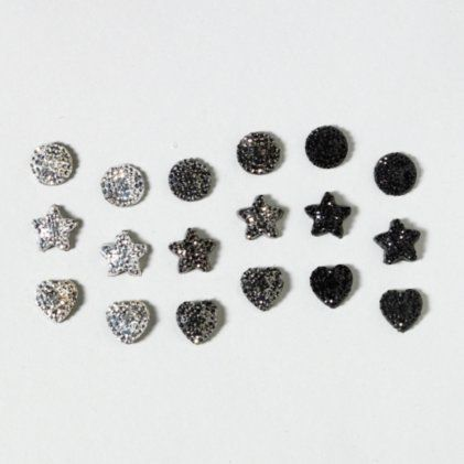 Crystal Covered Hearts and Stars Earrings Set of 9