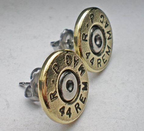 44 Magnum Remington Thin Cut Brass Bullet Head Stud Post Earrings Bullet Jewelry Steampunk