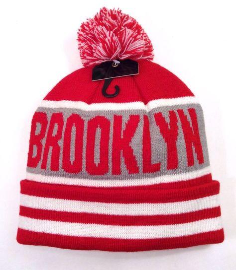 BROOKLYN POM-BEANIE Stripe Red White Gray Winter Knit Ski Hat Men Women New  York  Beanie dc76fa630