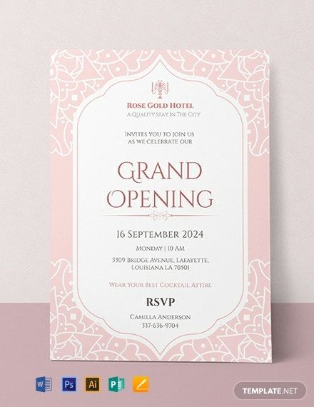Free Hotel Opening Invitation Card Template Word Doc Psd Indesign Apple Mac Pages Publisher In 2020 Grand Opening Invitations Invitation Card Format Birthday Invitation Card Template