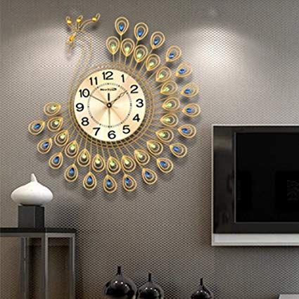 Amazon Com Neotend 3d Wall Clock Peacock 40pcs Diamonds Decorative Clock Diameter 20 8 Home Kitchen Clock Decor Clock Wall Decor Wall Clock Modern