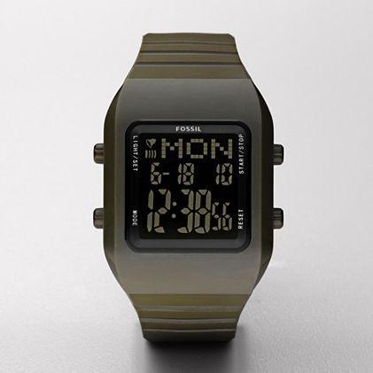 digital black negative display watch fossil