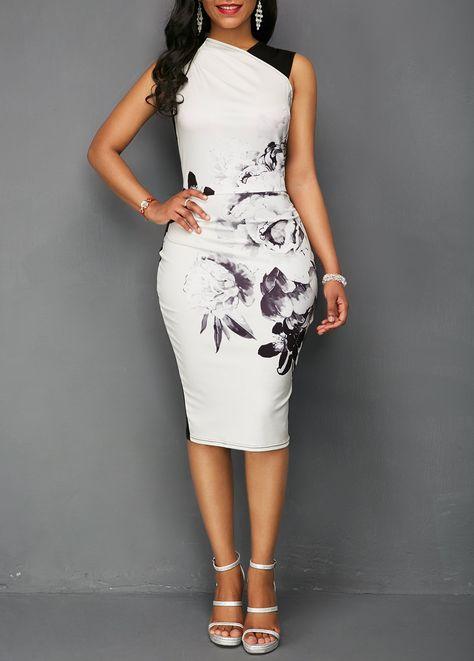 9fd3287d0f0 Flower Print Sleeveless High Waist Sheath Dress