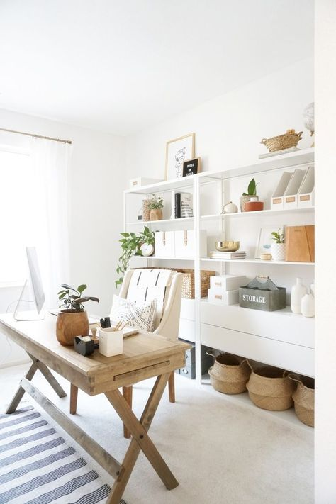 A look at our new home office + Our new office shelf unit - Zimmereinrichtung Office Shelf, Office Organization At Work, Office Nook, Office Inspo, Office Workspace, Office Storage, Organized Office, Office Shelving, Small Workspace
