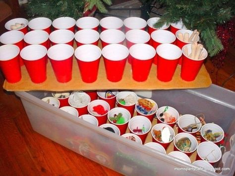Use plastic cups to neatly store your ornaments.