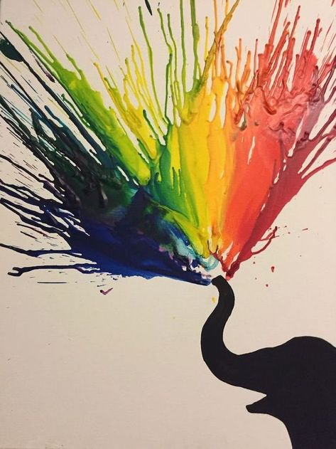 crayons painting, melting crayons, black elephant, cute drawing ideas, white background