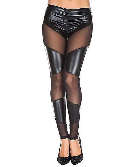 Music legs black Wet look pantyhose