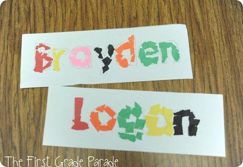 tearing paper to make names - Kindergarten beginning of year