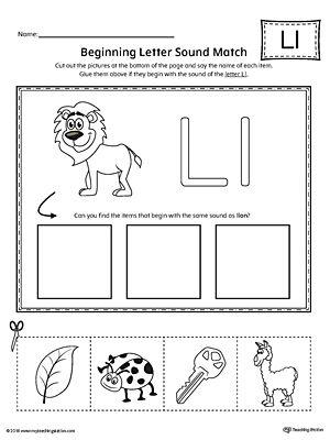 Letter L Beginning Sound Picture Match Worksheet   Letter l ...