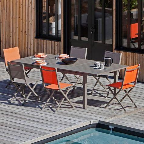 Table De Jardin Trieste Aluminium L180 240 L100 Cm Cafe Table De
