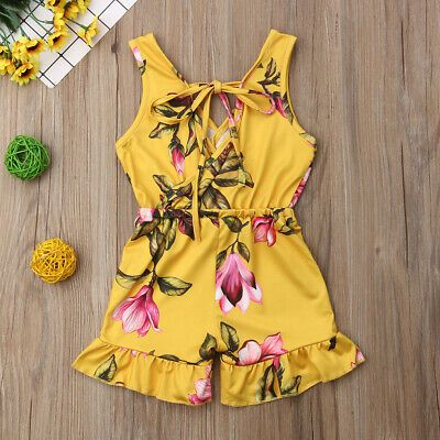 Summer Baby Kids Girls Floral Romper Bodysuit Jumpsuit Outfits Clothes Sunsuit