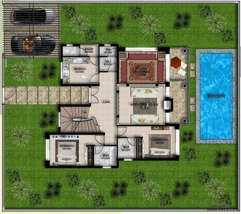 فيلا مقامة على مساحة ارض 400 متر مربع وبمساحة بناء تعادل 237 متر مربع بعدد 4 غرف نوم Arab Arch Square House Plans Luxury House Designs House Map