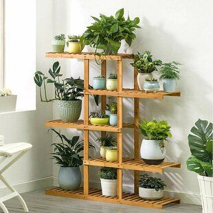 Large Wooden Plant Stand with Zinc Plant Pot 79cm tall Scandi design