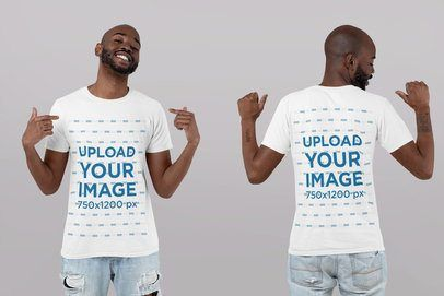 Placeit - Front and Back T-Shirt Mockup of a Man Pointing at Himself