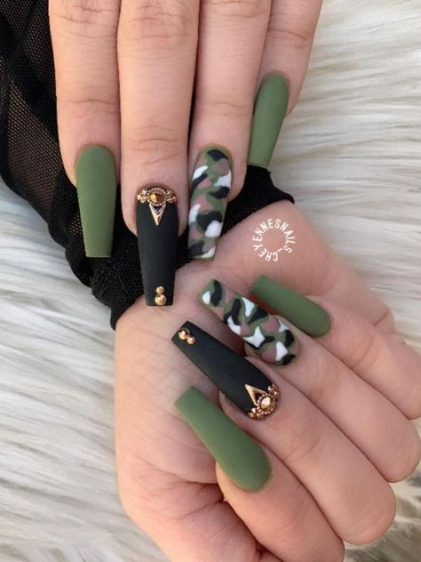 Awesome matte olive green fall nails acrylic coffin long design with gold rhines. - Awesome matte olive green fall nails acrylic coffin long design with gold rhinestones on an accent - # Acrylic Nails Coffin Short, Best Acrylic Nails, Acrylic Nail Designs, Camo Nail Designs, Camouflage Nails, Camo Nails, Camo Nail Art, Nail Swag, Dope Nails