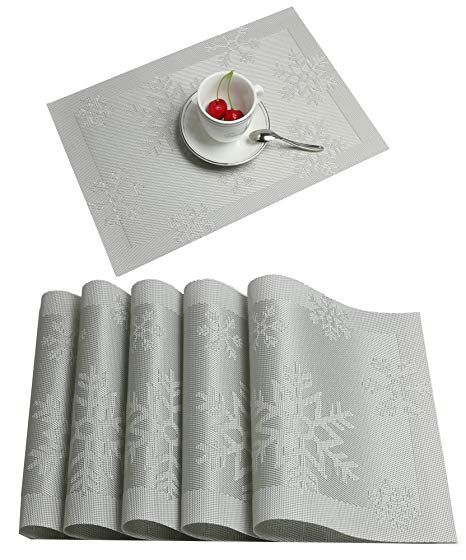 Place Mats Famibay Pvc Placemats Heat Resistant Non Slip Table Mats Set Of 6 For Christmas Sliver Amazon Co Uk Kit Fabric Placemats Placemats Red Christmas