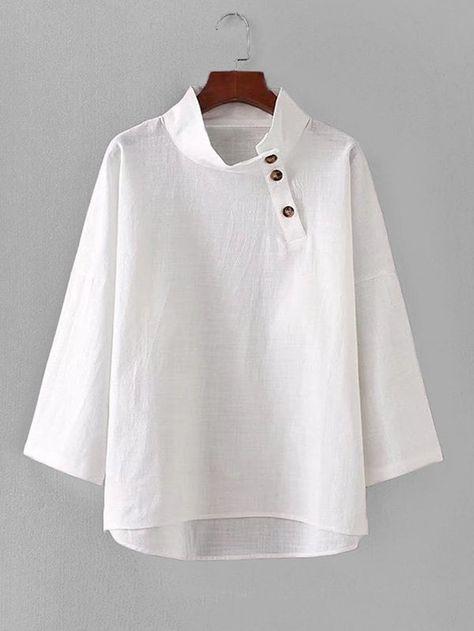 Women Elegant Plain Regular Fit Long Sleeve White Regular Length Button Detail Dip Hem Blouse