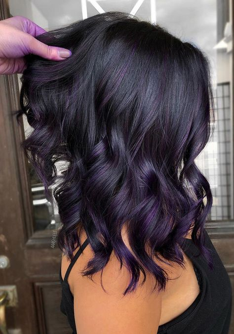 Hair Color Shades, Hair Color Purple, Hair Dye Colors, Hair Color For Black Hair, Cool Hair Color, Purple Hair Highlights, Violet Hair Colors, Hair Colors For Fall, Black Ombre
