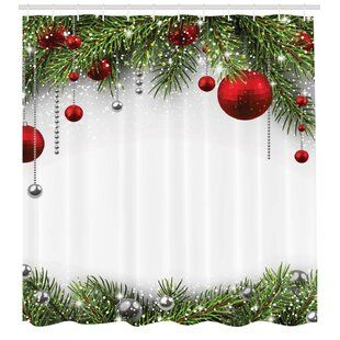 The Holiday Aisle Christmas Red Balls Ribbons Single Shower Curtain Wayfair Tree Shower Curtains Christmas Bathroom Decor Shower Curtain Hooks