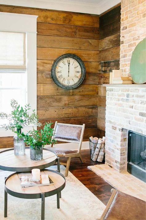 Shiplap + brick fireplace
