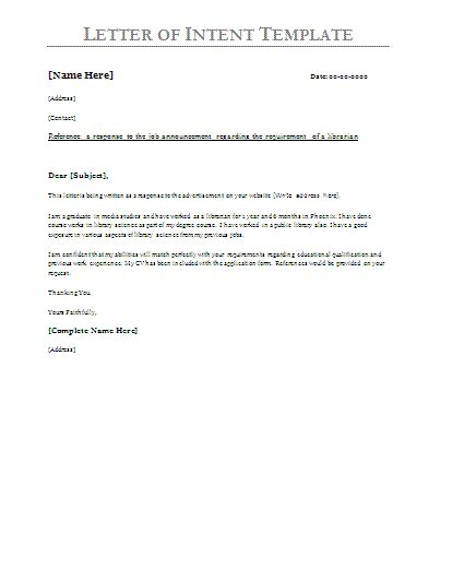 Letter of Intent Sample School and Business letter - letter of intent for business sample