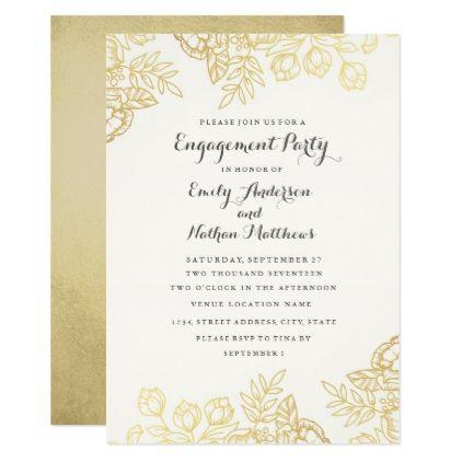 Elegant Gold Vintage Floral Engagement Party Invitation Zazzle Com Vintage Floral Wedding Invitations Floral Baby Shower Invitations Floral Wedding Invitations