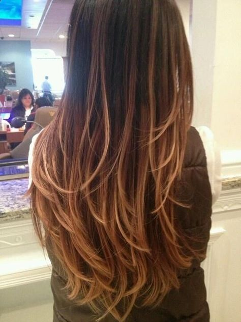 Ombre Hair color (rich dark brown, milk chocolate brown honey blonde) lighter on the ends
