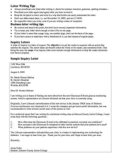 How to write a complaint letter Oh will this be a good one - inquiry letters sample
