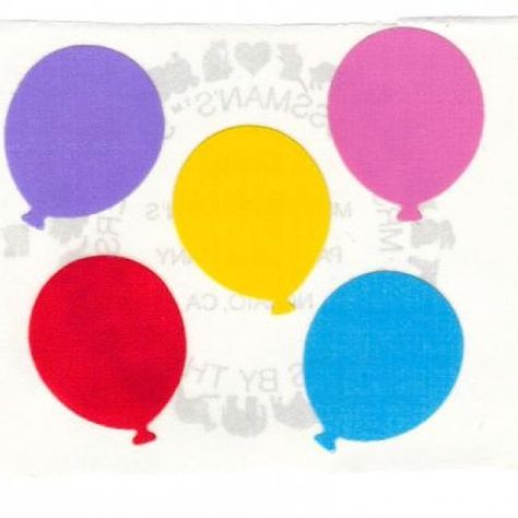 Large Grossman/'s Stickers Blue Yellow Pink Balloons Purple Mrs Red
