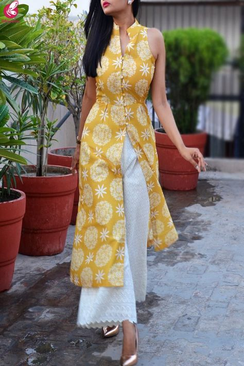 Mustard Printed Rayon Kurti with Lakhnawi Cotton Palazzo - Kurti Set