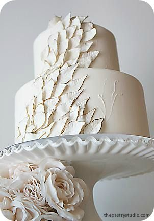 Unique White Wedding Cake - The Pastry Studio -- If i do a wedding, and it's in the winter, I'm having this cake