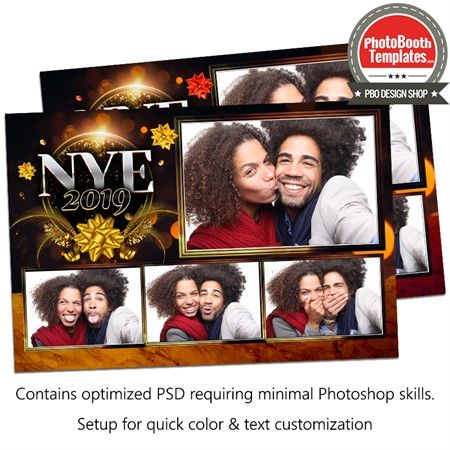 Golden New Year Eve Postcard Photo Booth Template   Photo Booth