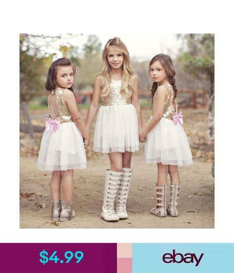 28bc6d66087 Girls  Clothing (Sizes 4   Up) Sequins Baby Flower Girl Dress Bow Backless  Party Gown Formal Bridesmaid Dresses  ebay  Fashion