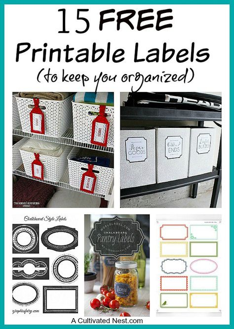 15 Free Printable Labels for Keeping Your Organized! You can arrange your things in the best system of bins, baskets, and jars, and still have a hard time finding everything afterwards if you don't have your containers labeled!