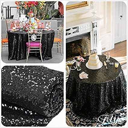Trlyc 72 Off Choose Your Size Sparkly Black Sequin Round