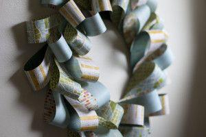 "Paper Wreath Tutorial at Scrapbuck.com.  Make a 12"" Wreath for less than $3.00.  Just Scrapbook Paper, Cardboard & Staples!"