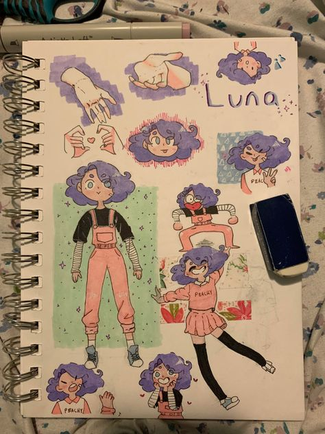 i finished this page about a day ago and her name is Luna an Art Drawings Sketches, Cartoon Drawings, Cute Drawings, Cute Art Styles, Cartoon Art Styles, Arte Sketchbook, Sketchbook Pages, Character Drawing, Pretty Art