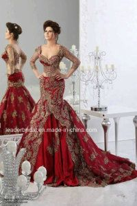 Red Formal Evening Dresses 2014 Arabic Jajja-Couture Embroidery V Neck Vestidos Ball Gowns Prom Cheap Ball Gowns Long Sleeve Sexy Dress