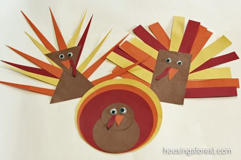 Shape Turkeys. Lots of fine motor coordination in cutting and pasting. Pinned by The Sensory Spectrum.