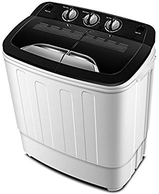 Light Gray Twin Tub Merax Portable Washing Machine Mini Compact Twin Tub Washer Machine with Wash and Spin Cycle FCC Verification Approved