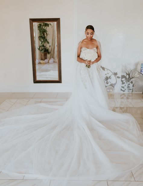 Elegant and beautiful #GLBride Victoria Jones looks amazing in her strapless Galia Lahav #Aelin wedding dress featuring sequinned flower petals and  leaves cascading down its pleated skirt.